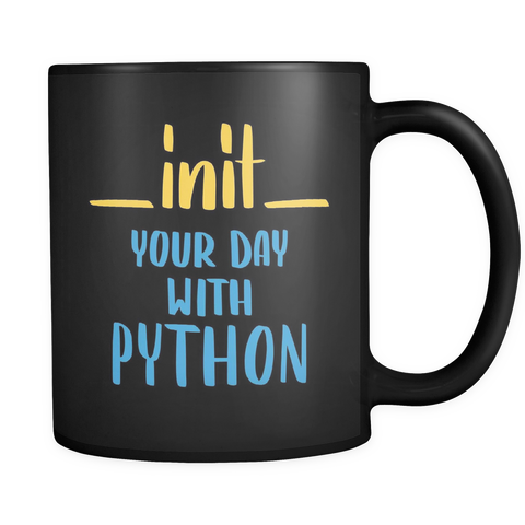 """__init__ Your Day With Python"" Mug (Black)"