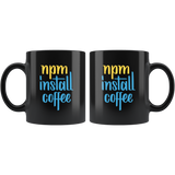 """npm install coffee"" JavaScript Mug (Black)"