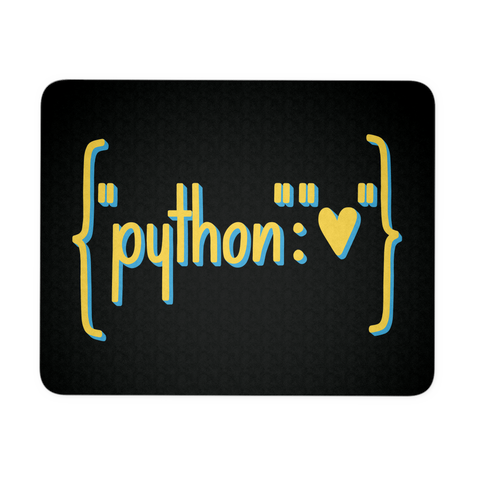 """Python Heart Dictionary"" Mouse Pad (Black)"