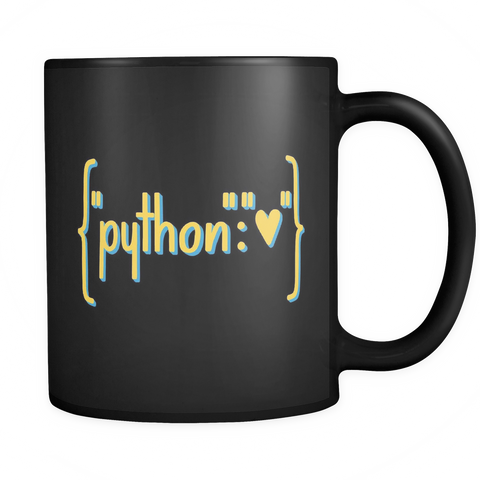 """Python Heart Dictionary"" Mug (Black)"