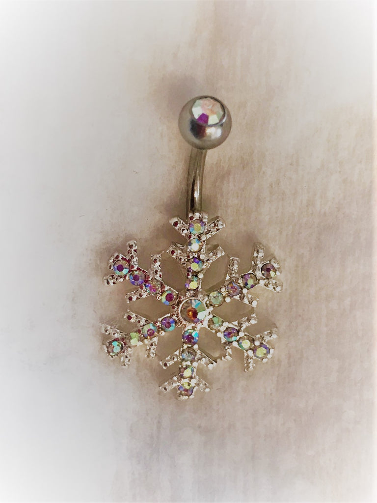 Clear gem snowflake belly bar NA76 - beauty spot warehouse