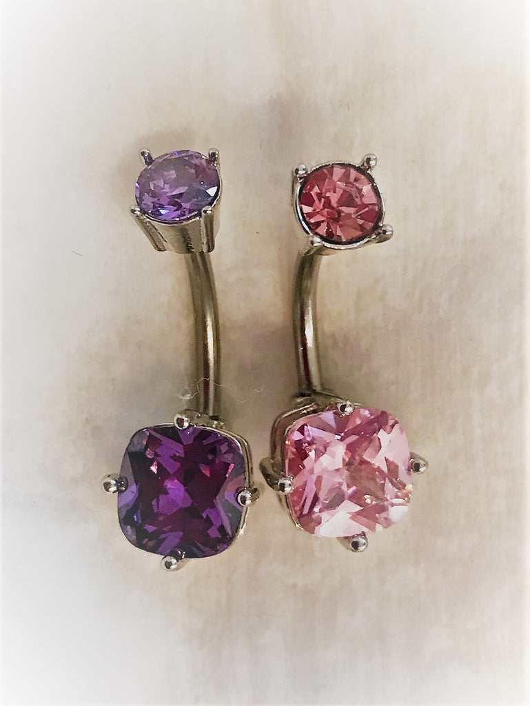 Duo pack of belly bars -Pink and Purple square NA88 - beauty spot warehouse