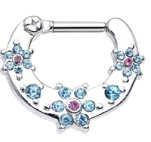 Blue and Pink Gem Flower Hinged Clicker - beauty spot warehouse