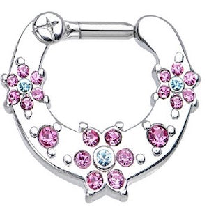 Pink an Aqua Gem Flower Hinged Clicker - beauty spot warehouse
