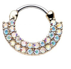 Double Row Aurora Gem Hinged Clicker - beauty spot warehouse
