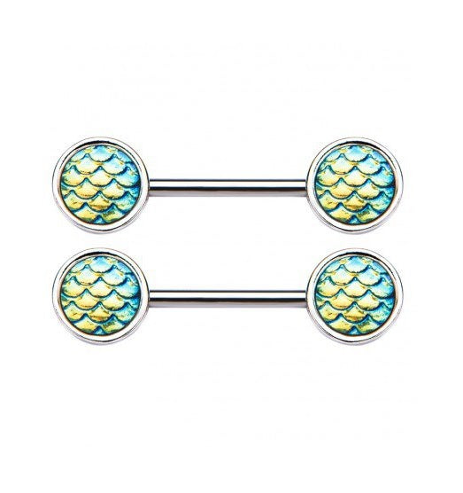 Green Mermaid Scale Nipple Ring Barbell - beauty spot warehouse