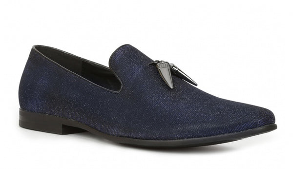 "Giorgio Brutini ""Conquest"" black/blue Shiny Tassel Loafer"