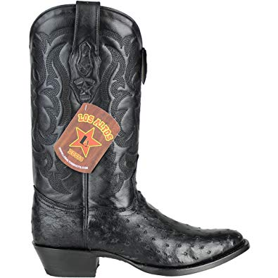 "Los Altos Men's Black Ostrich Round Toe Cowboy Boot ""650305"""