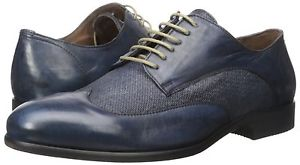 Men's Bacco Bucci Agata Wing Tip Oxford Blue Burnished Leather/Linen
