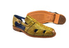 Belvedere Ostrich mens sandal. Style Connors. Emerald Color. Leather outsole.