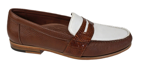"Belvedere (Emanuel )two tone loafer ""Antique Honey & White"" - Sale"