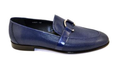 Corrente (4905 - Blue) Woven Textured leather Loafer with horseshoe buckle
