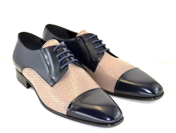 Corrente 4745 Perforated Cap toe Lace up-Navy/Pebble