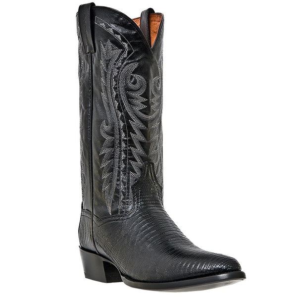 Dan Post Mens Cowboy Boots Black Lizard Skin With R Toe