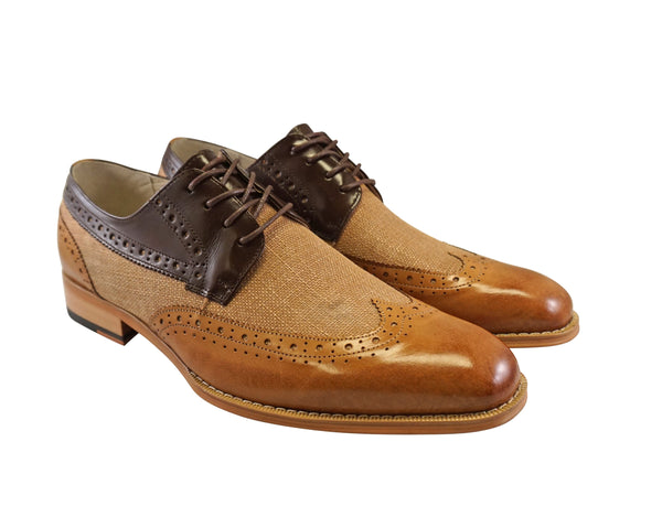 "Giovanni Tan/Chocolate Brown Linen and Leather Wingtip oxford ""Hunter"""