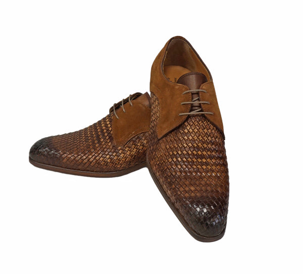 "Jose Real ""Velour Whisky"" basket weave lace shoe with suede trim"