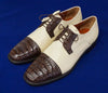 Los Altos Two Tone Caiman Belly & Lizard skin Cap Toe Shoe (Brown & Bone)