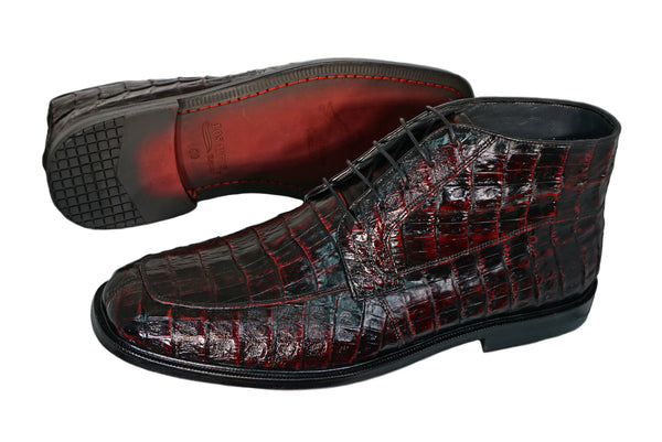Los Altos Black cherry Caiman Belly Boot