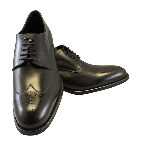 "Copy of La Ferra Mens Black Italian made wingtip dress shoe ""KD6"""