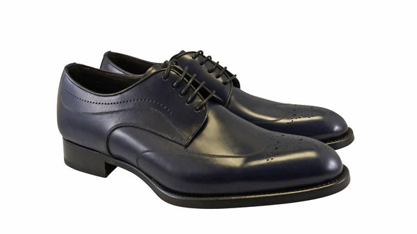 "La Ferra Mens Navy Blue Italian made wingtip dress shoe ""KD6"""