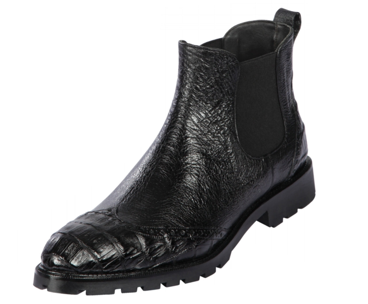 Lombardy - Genuine Ostrich & Caiman Belly Croc Lug Sole Ankle Boot - Black LMB-ZLM078205