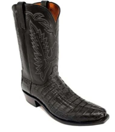 Men's Lucchese 1883 N1127 Boot Black Hornback Tai Jersey Calf