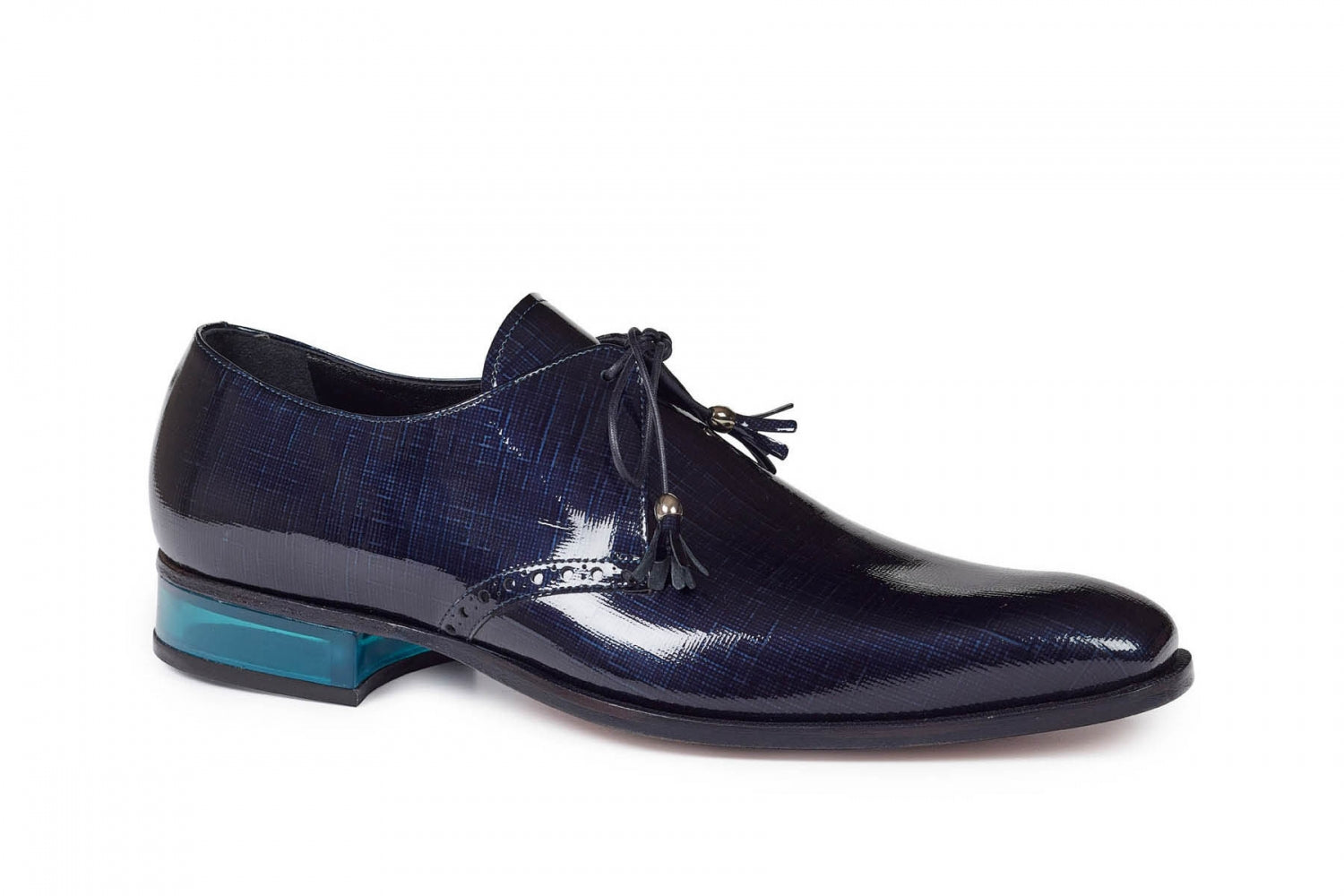Mauri (4801) Blue Patent Leather shoe with Plexiglas Heel
