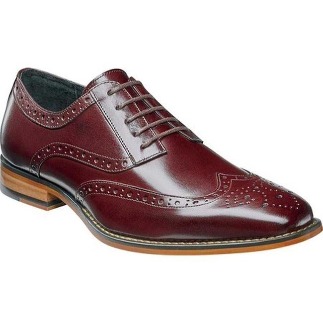 Stacy Adams Men's Tinsley Wingtip Burgundy Buffalo Leather
