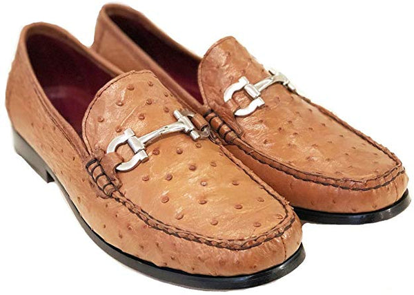 PELLE LINE OSTRICH LEATHER COGNAC LOAFER STRUZZO