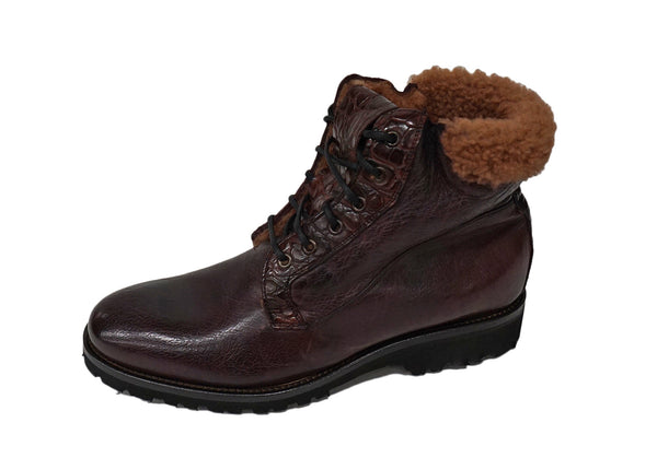 Calzoleria Toscana Shearling Boot Burgundy (4060), Italian Made