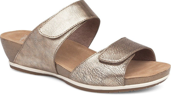 Dansko Vienna Nappa Gold Metallic Leather Double Strap Slide Wedge Sandal