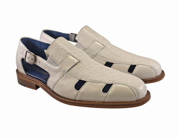 "Belvedere White Ostrich Sandal ""Connors""."