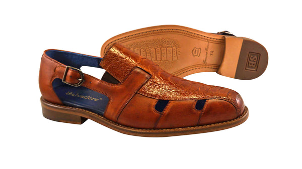 "Belvedere Antique Honey Ostrich Sandal ""Connors"". Leather outsole."