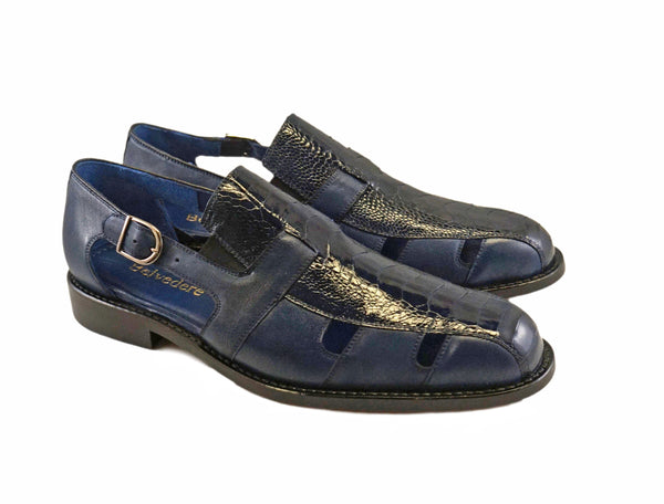 Belvedere Ostrich mens sandal.  Style Connors.  Navy Blue Colore.