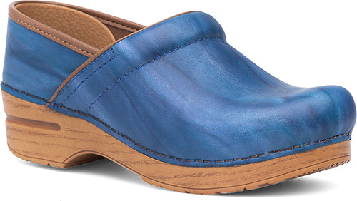 Womens Professional Clogs In Blue Scrunch Leather Dan Brothers