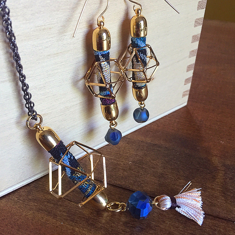 Geometric Earrings & Pendant Set