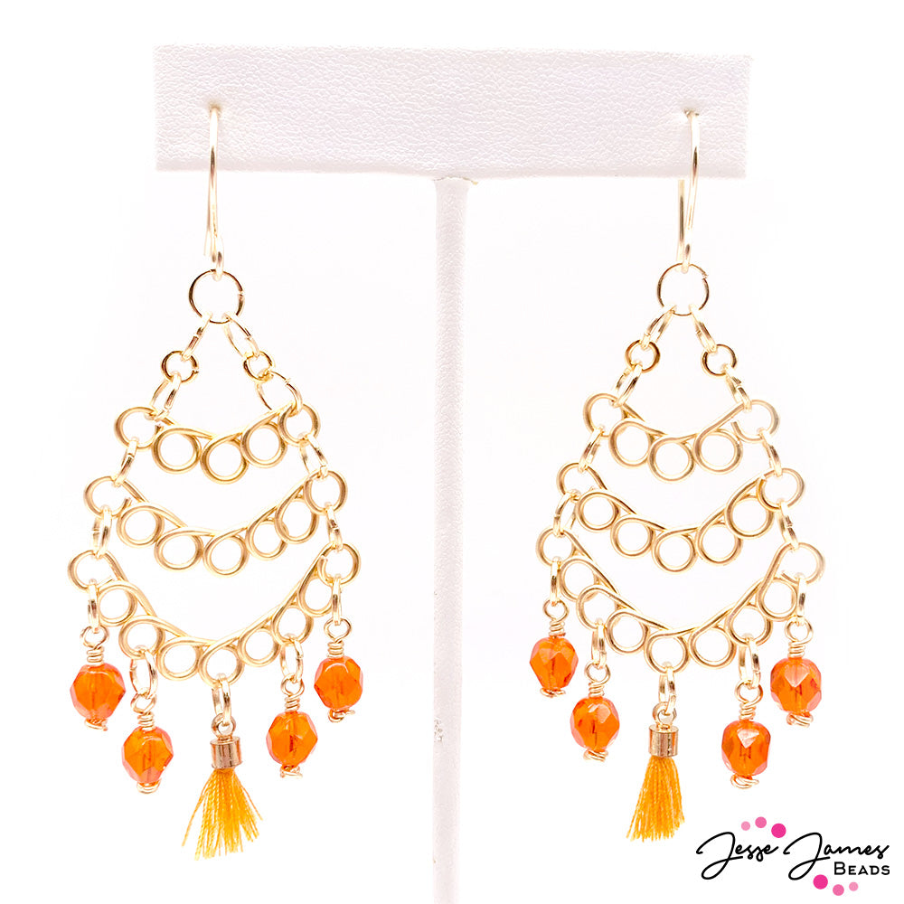 How-To Jewelry Tutorial: Orange Twist Wire-Wrapped Earrings