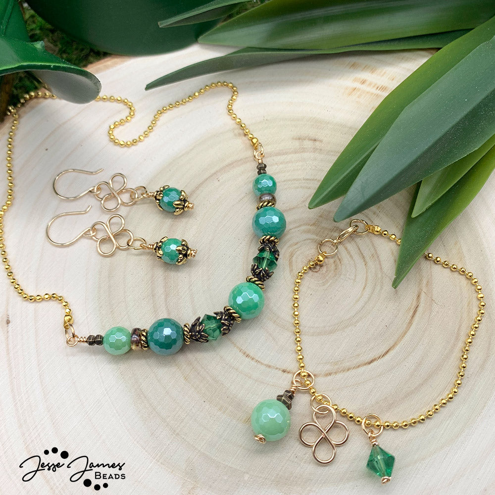 Maker Monday: Shimmering Shamrock Beaded Jewelry Set