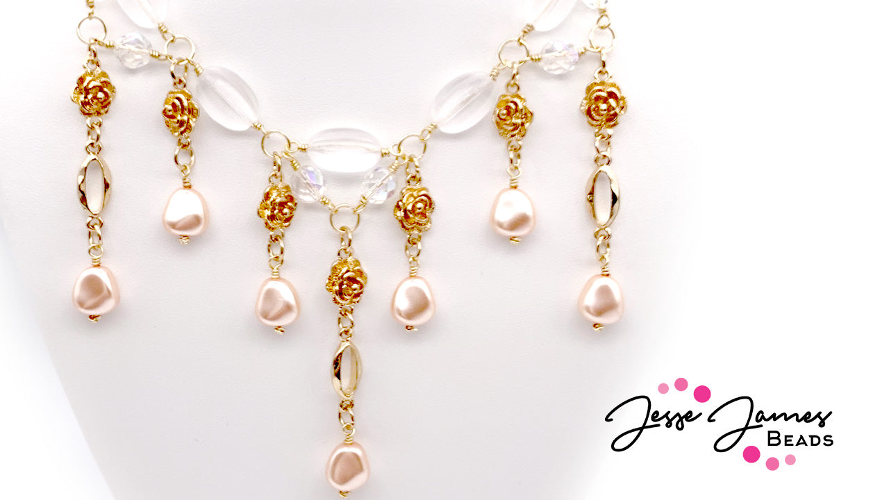 How-To Jewelry Tutorial: Czech & Roses Necklace