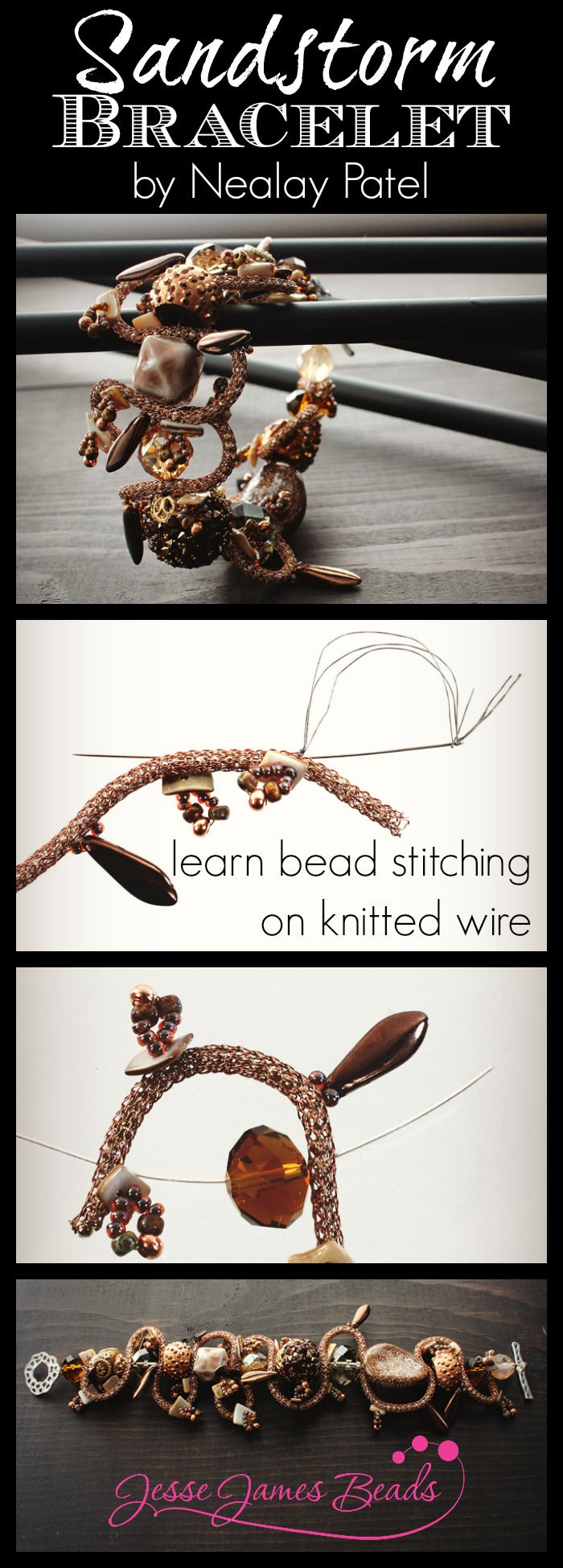 DIY Jewelry Making How to stitch beads on knitted wire by Nealay Patel for Jesse James Beads