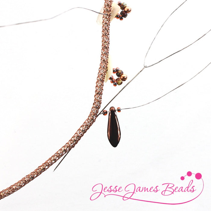 DIY Jewelry Making with bead stitching on knitted wire and Jesse James Beads1