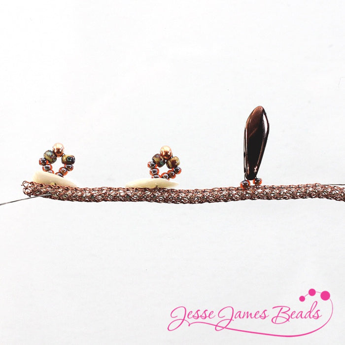 DIY Jewelry Making with bead stitching on knitted wire and Jesse James Beads10
