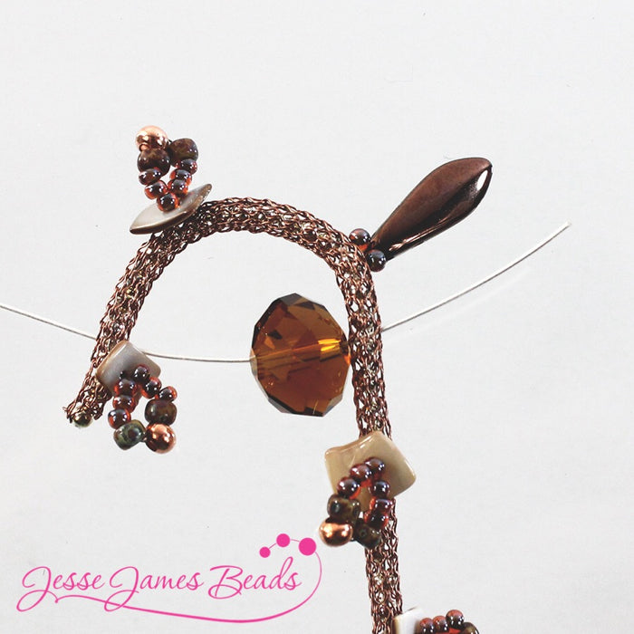 DIY Jewelry Making with bead stitching on knitted wire and Jesse James Beads4