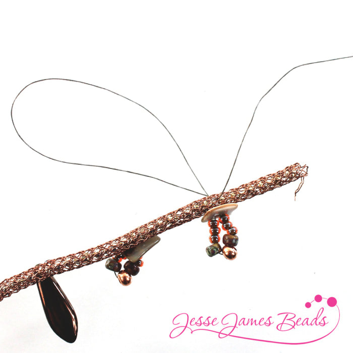 DIY Jewelry Making with bead stitching on knitted wire and Jesse James Beads5