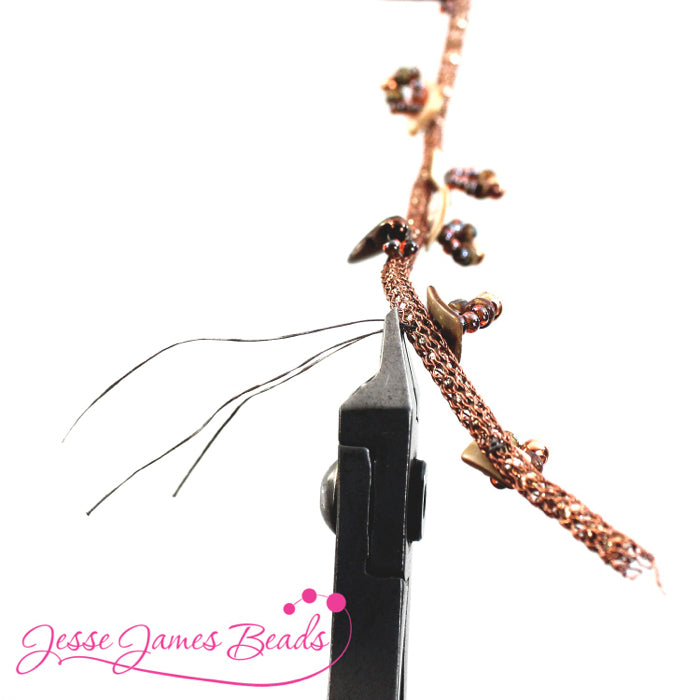 DIY Jewelry Making with bead stitching on knitted wire and Jesse James Beads6