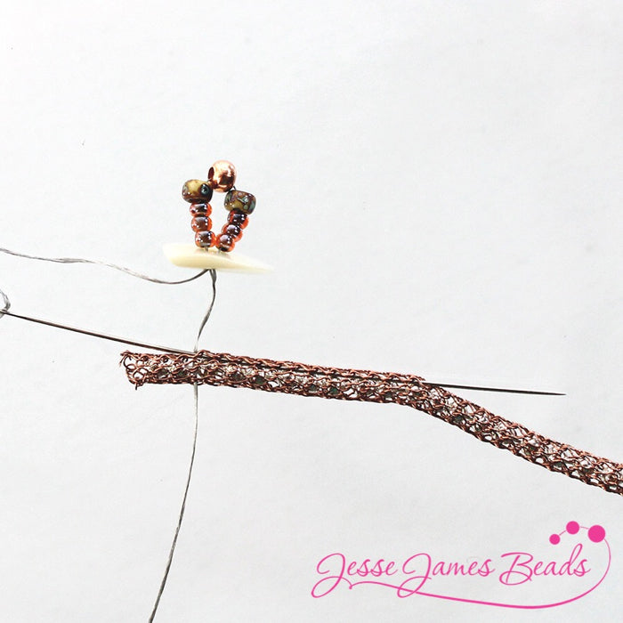DIY Jewelry Making with bead stitching on knitted wire and Jesse James Beads8
