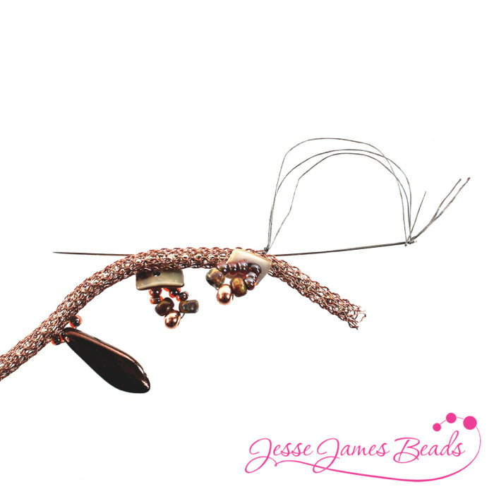 DIY Jewelry Making with bead stitching on knitted wire and Jesse James Beads9