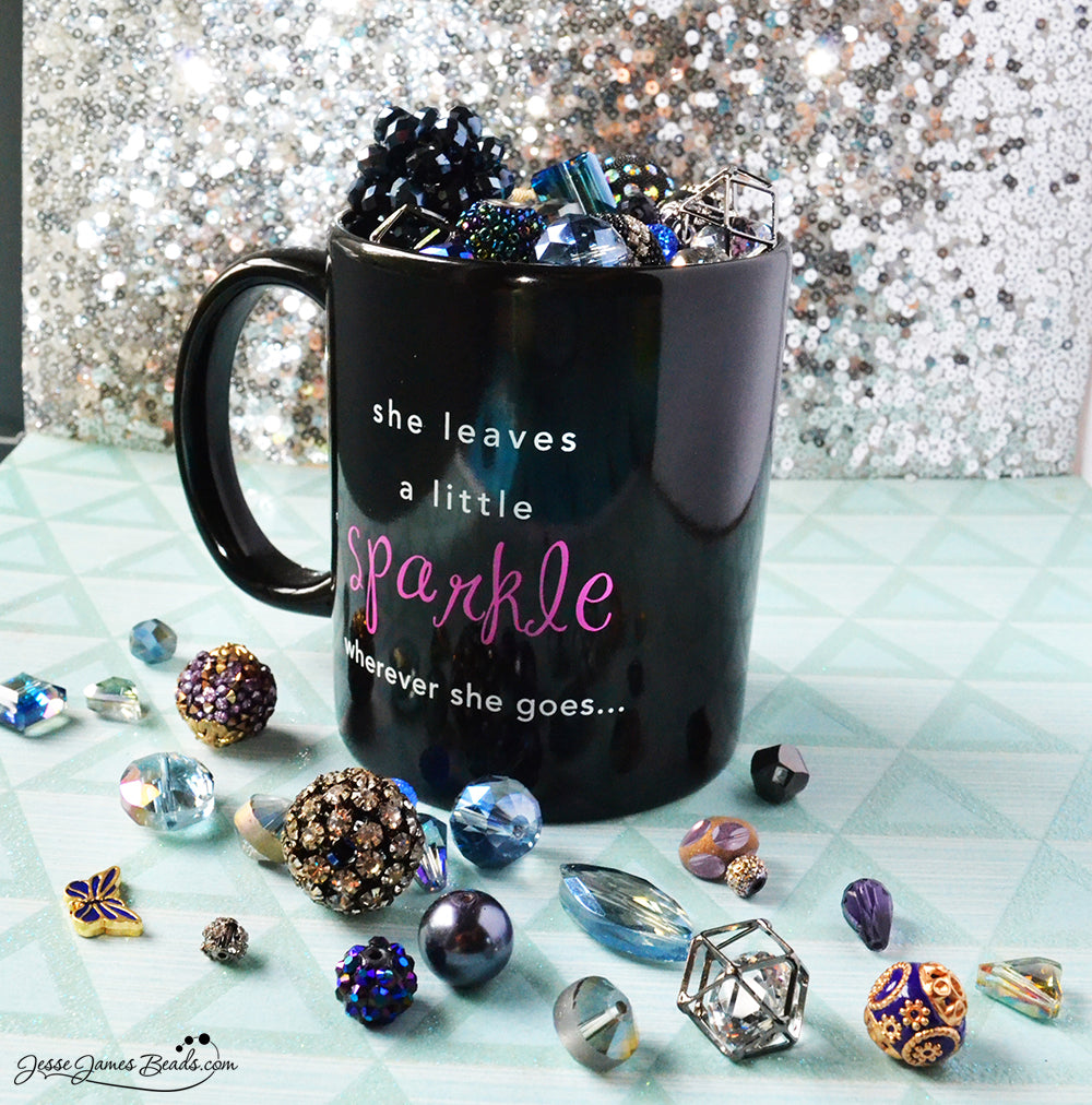 The 12 Days of Beadsmas - Day 12: Cup of Cheer, Mug full of sparkling Jesse James Beads