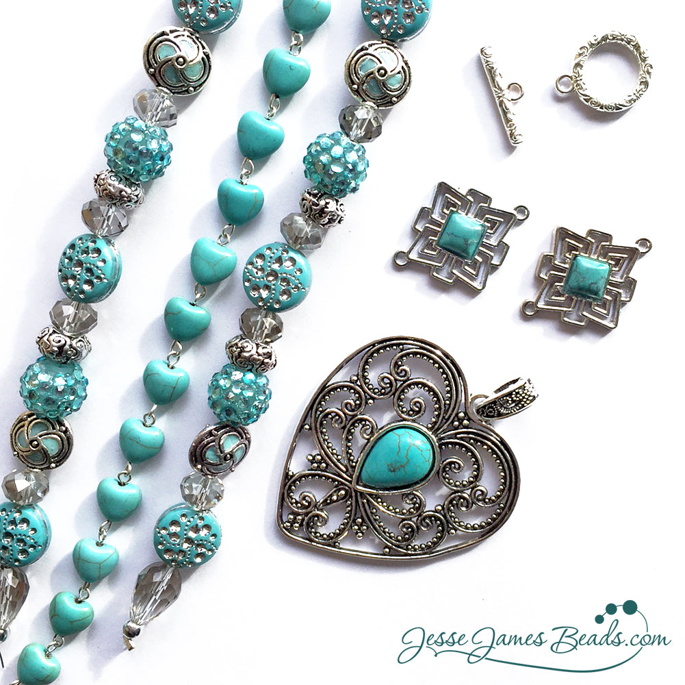 Tucson Love Turquoise and Silver Necklace Kit from Jesse James Beads