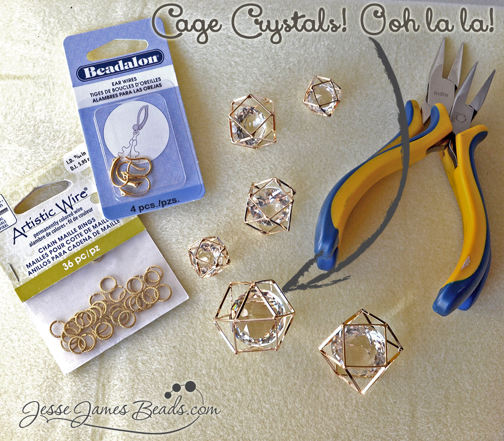 Glitzy Earring Project Tutorial - Supplies you need to create fancy dangle earrings - Jesse James Beads